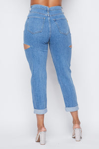 High Waisted Side Cut Out Boyfriend Jeans - Medium Stone - SohoGirl.com