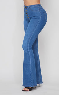 Button Fly Bell Bottom Stretchy Jeans - Medium Denim