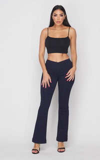 Mid Rise Denim Bootcut Pants (S-XL) - Super Dark Denim - SohoGirl.com