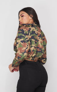 Cropped Bomber Jacket in Camouflage