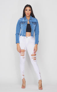 Vogue Beaded Cross Denim Jacket