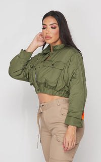 Cropped Bomber Jacket in Olive