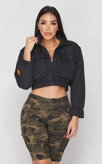 Cropped Bomber Jacket in Black