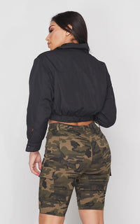 Black Cropped Bomber Jacket - SohoGirl.com