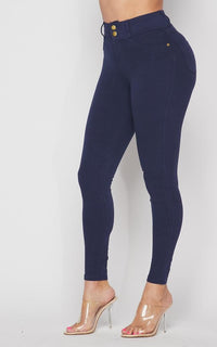 High Waisted Stretchy 2-Button Jeggings - Navy Blue