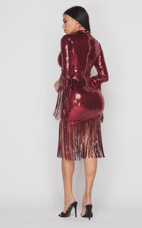 Sequin Tassel 3-4 Sleeve Midi Dress - Burgundy - SohoGirl.com