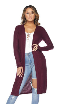 Midi Comfy Long Sleeve Cardigan -Burgundy