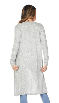 Midi Comfy Long Sleeve Cardigan -Gray - SohoGirl.com