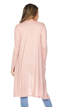 Midi Comfy Long Sleeve Cardigan -Blush