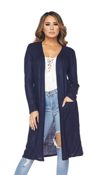 Midi Comfy Long Sleeve Cardigan -Navy Blue