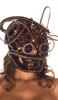 Steampunk LED Light Up Skull Mask - Copper