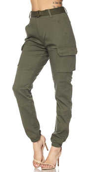 Belted Cargo Jogger Pants in Olive (Plus Sizes Available) - SohoGirl.com