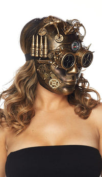 Steampunk LED Light Up Compass Mask - Gold - SohoGirl.com