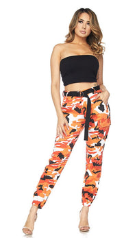 Belted Camouflage Cargo Jogger Pants - Orange (Plus Size Available)