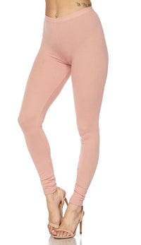 Basic Cotton Leggings in Blush