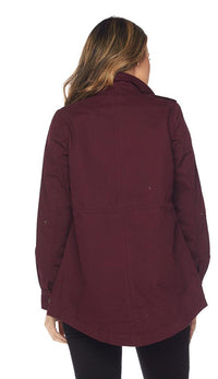 Collared Utility Parka Jacket - Burgundy