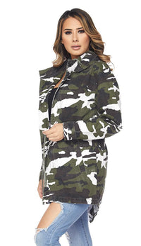 Hooded Camouflage Anorak Jacket - Winter Camo - SohoGirl.com