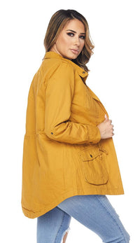 Collared Utility Parka Jacket - Mustard