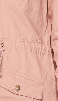 Collared Utility Parka Jacket - Blush - SohoGirl.com