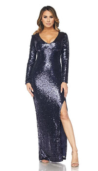 Long Sleeve Sequin Maxi Dress - Navy Blue