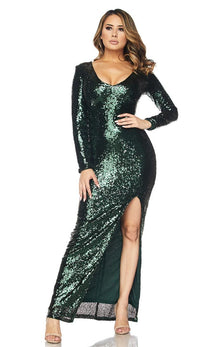 Long Sleeve Sequin Maxi Dress - Green