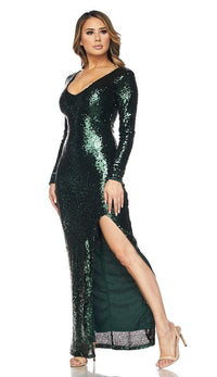 Long Sleeve Sequin Maxi Dress - Green - SohoGirl.com