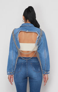 Two Chains Distressed Denim Crop Jacket