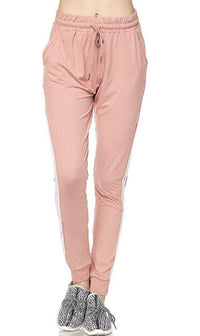 Dusty Pink Striped Microfiber Jogger Pants - SohoGirl.com