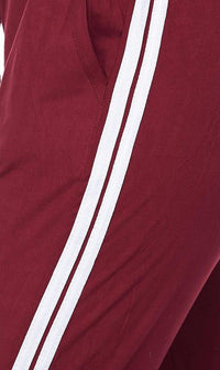 Burgundy Striped Microfiber Jogger Pants - SohoGirl.com