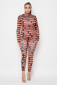 London Paris Milan Jumpsuit - Yellow Red - SohoGirl.com