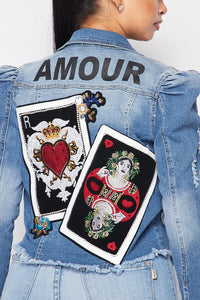 Amour Printed Denim Jacket - SohoGirl.com