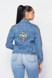 Chains and Cross Denim Jacket - SohoGirl.com