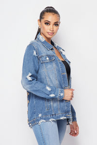 Distressed Back Chain Detail Denim Jacket - SohoGirl.com