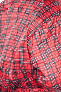 Plaid Print Cropped Bomber Jacket - Red - SohoGirl.com