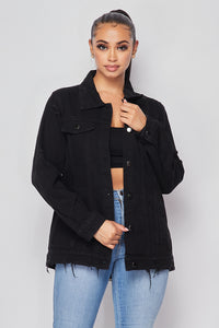 Distressed Back Chain Detail Denim Jacket - Black - SohoGirl.com