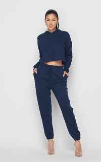 Crop Hoodie Sweater and Sweatpants - Navy Blue
