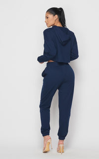 Crop Hoodie Sweater and Sweatpants - Navy Blue - SohoGirl.com