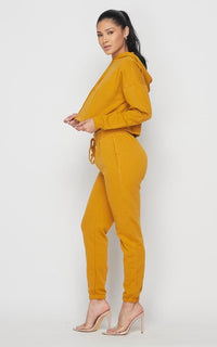 Crop Hoodie Sweater and Sweatpants - Mustard