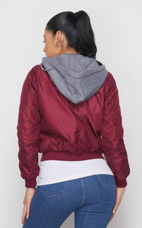 Sweater Insert Satin Bomber Jacket - Burgundy