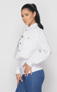 White Cropped Distressed Denim Jacket