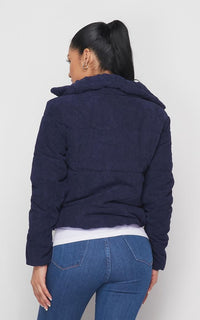 Corduroy Bomber Jacket in Navy Blue - SohoGirl.com