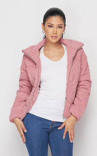 Corduroy Bomber Jacket in Pink