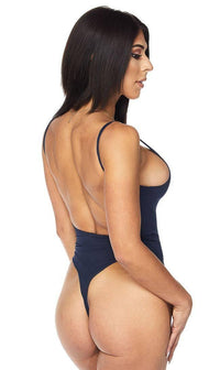 Basic Open Back Thong Bodysuit in Navy Blue - SohoGirl.com