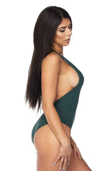 Halter Top Open Back Bodysuit in Hunter Green