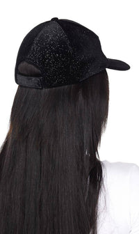Glitter Velvet Cap in Black