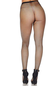 Rhinestone Embellished Fishnet Pantyhose in Black