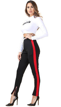 Ankle Zipped Side Stripe Track Pants in Black