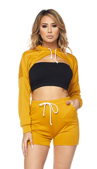 High-Low Drawstring Hoodie and Shorts - Mustard - SohoGirl.com