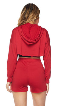 High-Low Drawstring Hoodie and Shorts - Red