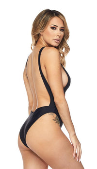 Keyhole Cut Out Open Back Swimsuit - Black